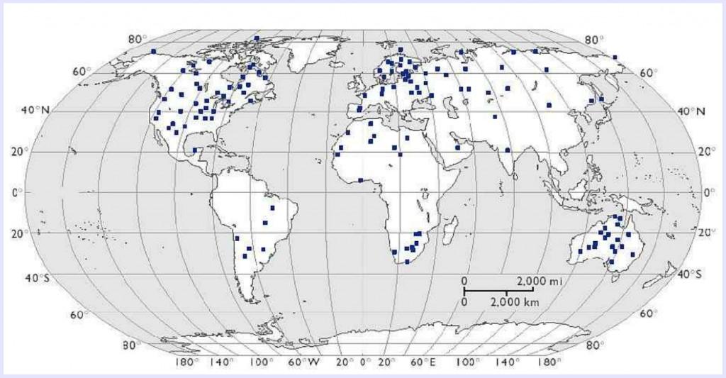 Weltkarte bedeutender Impaktstrukturen