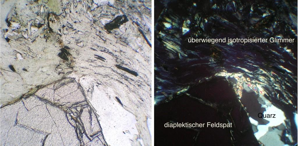 Dünnschliffaufnahme diaplektischer Muskovit und Feldspat xx und II