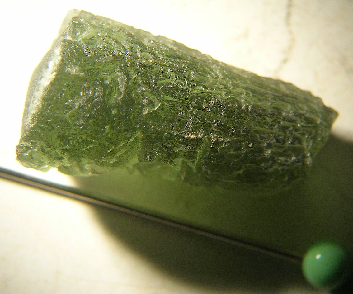typical green moldavite from the Bohemian tektite strewn field