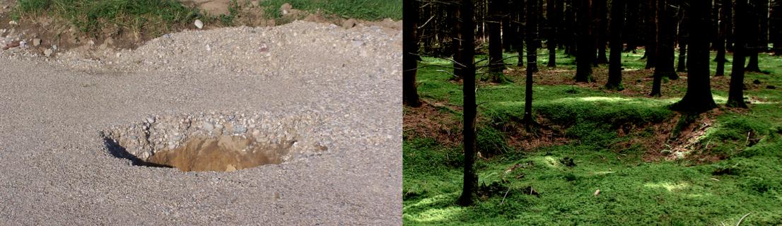 typische Donnerlöcher als Folge der Impakt-Bodenverflüssigung, frisch eingebrochen und etwas älter, im Gebiet von Kienberg