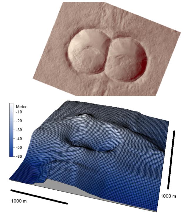 Ähnlichkeit des Chiemsee-Doppelkraters mit einem Meteoriten-Doppelkrater vom Mars