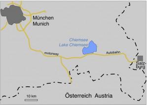 Karte vom Chiemsee in Südost-Bayern mit dem Doppelkrater