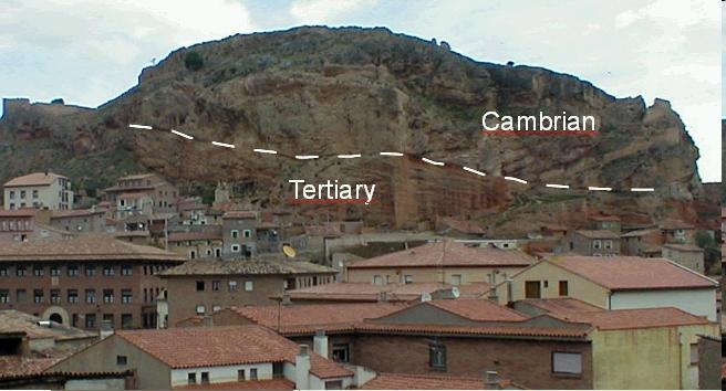 Deckenüberschiebung von Kambrium über Tertiär bei Daroca