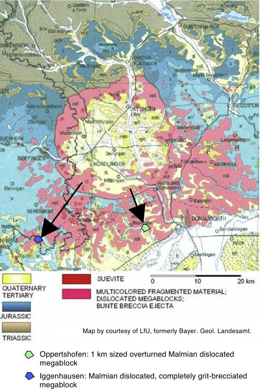 geologische Übersichtskarte der Ries-Impaktstruktur