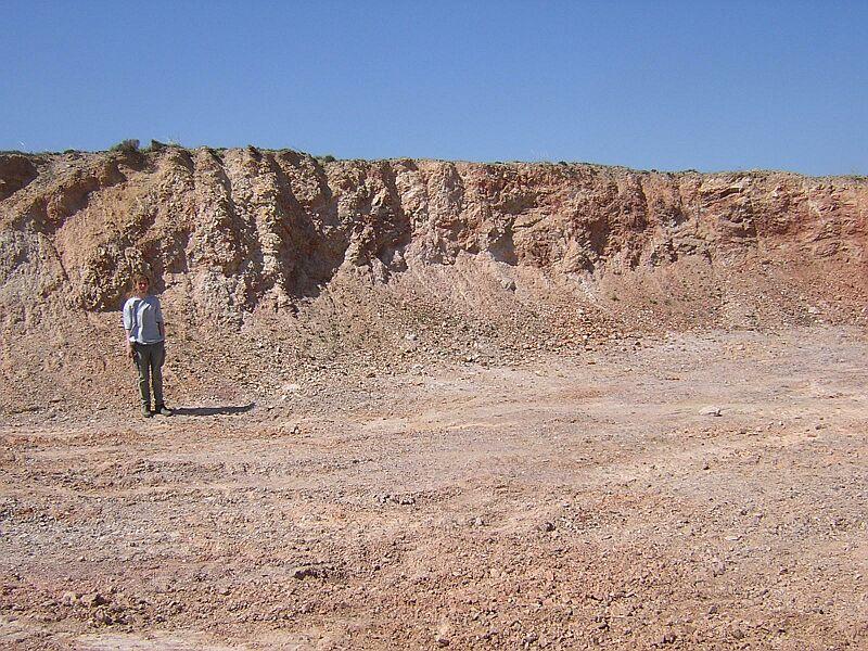 Steinbruch/Kiesgrube im Daroca-Sandstein Olalla-Block