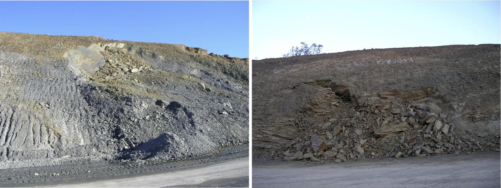 Hangrutsche in der Böschung der Autovía Mudéjar im impaktzertrümmerten Gestein
