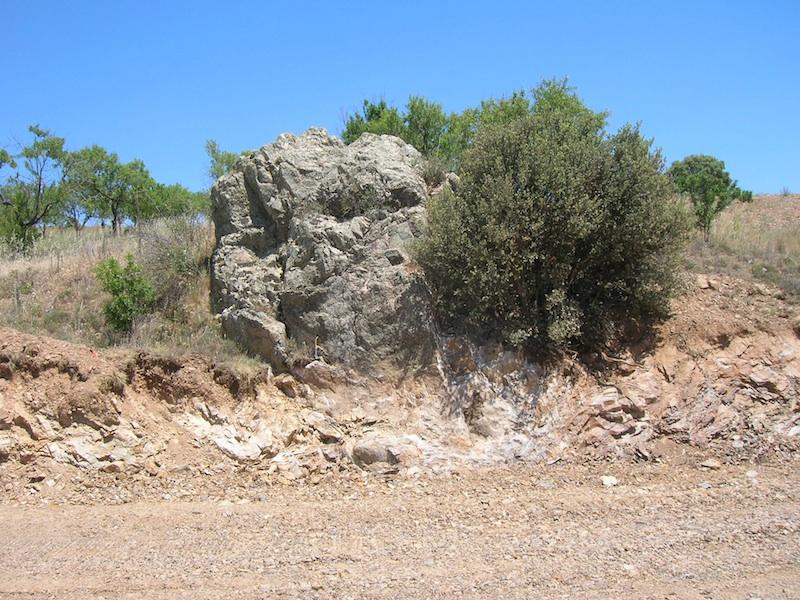Aufschluss in der komprimierte Zone im Kambrium bei Cucalón