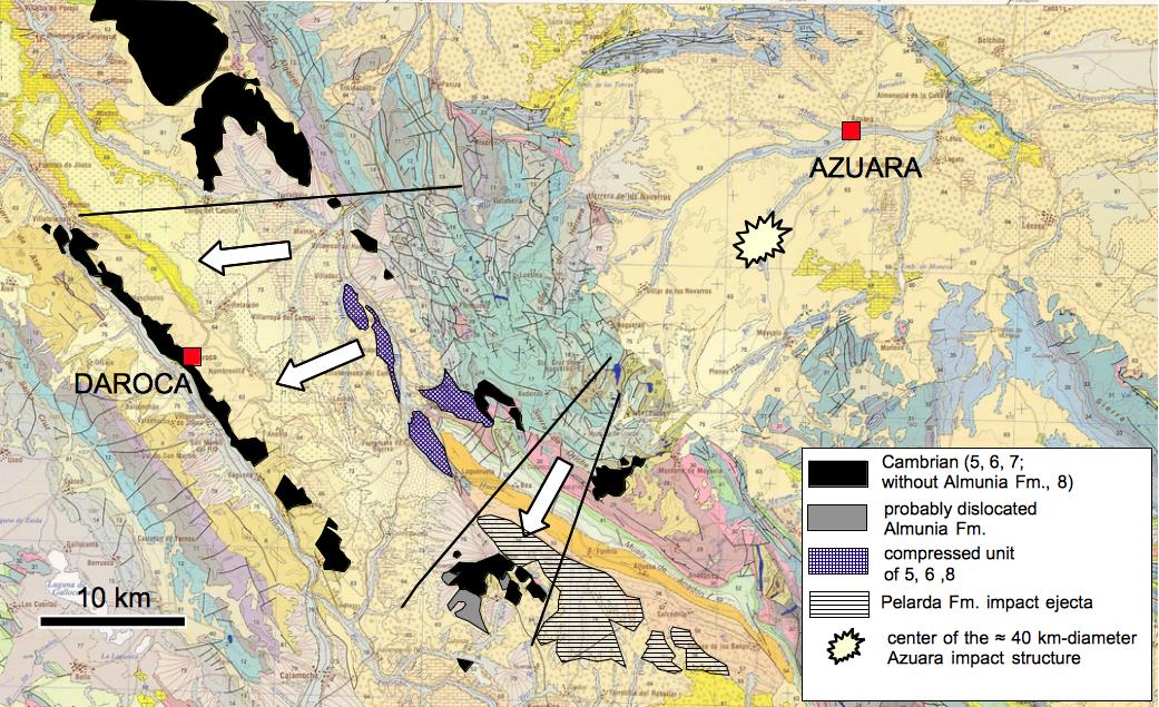 geologische Karte zum Model der Daroca-Überschiebung