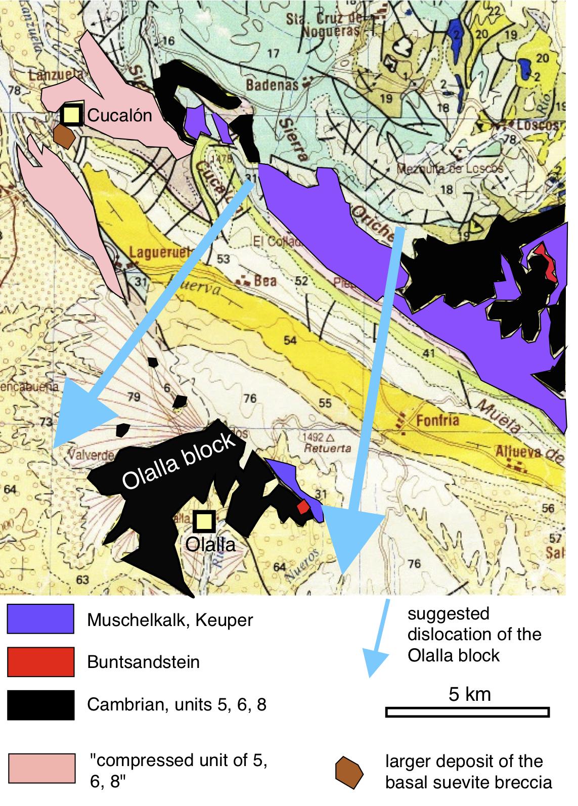 geologische Karte zum Modell der Verfrachtung des Olalla-Blocks
