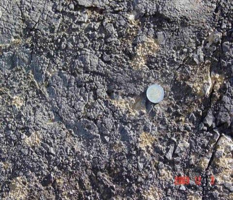 Vergriesungs-Brekziierung im Muschelkalk des Olalla-Blocks