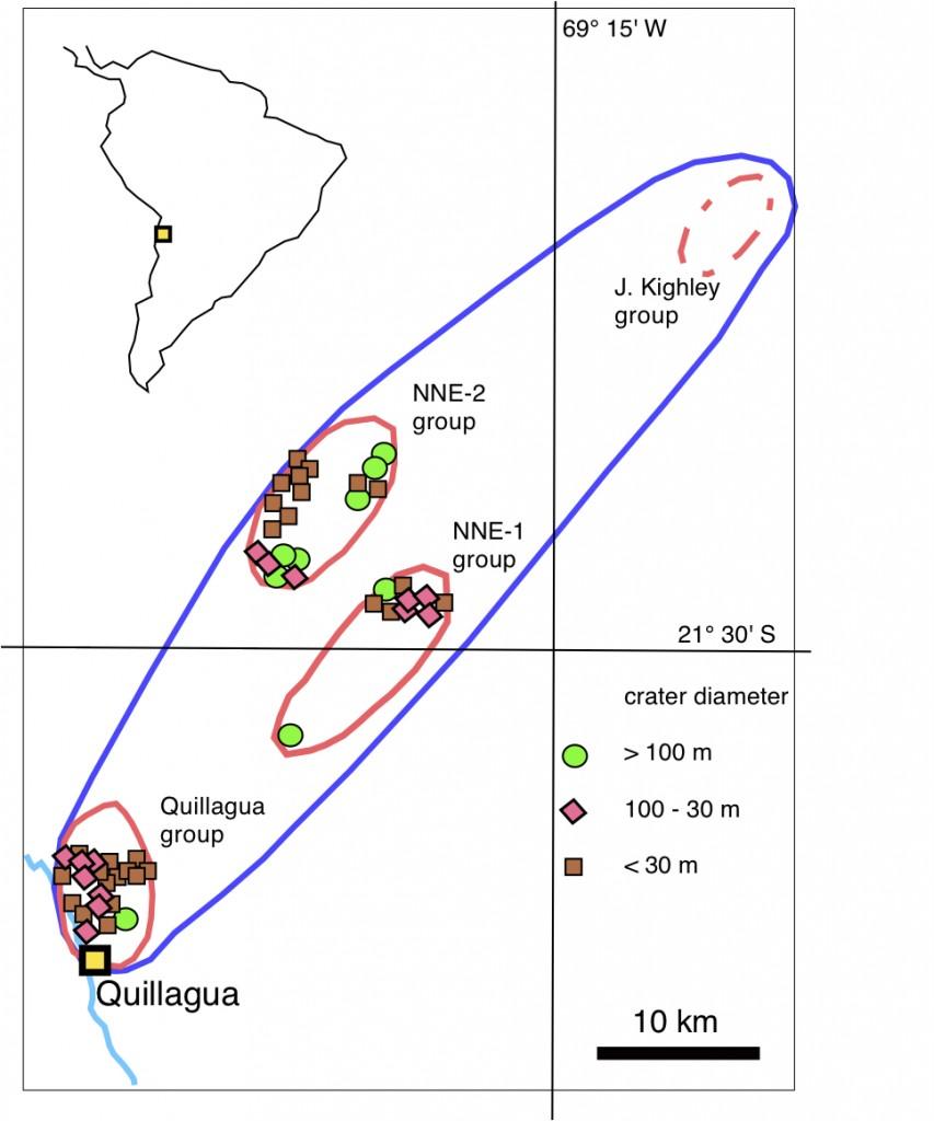 Lageplan des Quillagua-Kraterstreufeldes in der Provinz Antofagasta Chile