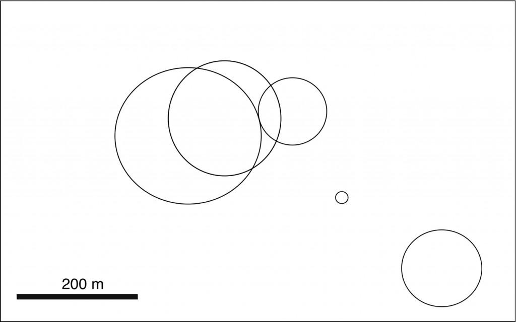 Skizze von fünf sich teilweise überlagernden Krater von Quillagua