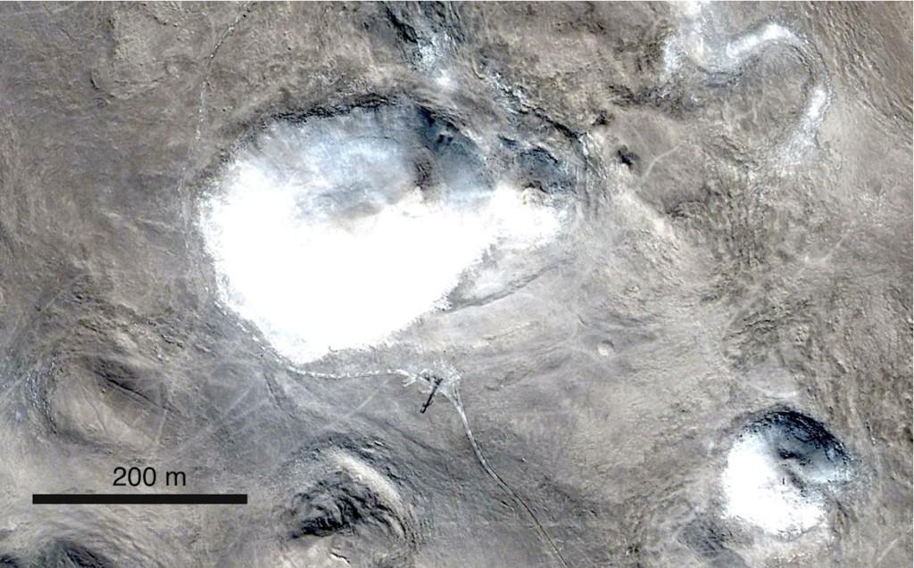 Fünf Krater z.T. sich überlagernd im Quillagua Meteoritenkrater-Streufeld
