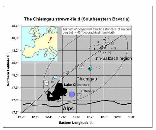 Karte der Meteoritenkrater der Impakt-Streuellipse Chiemgau-Impakt