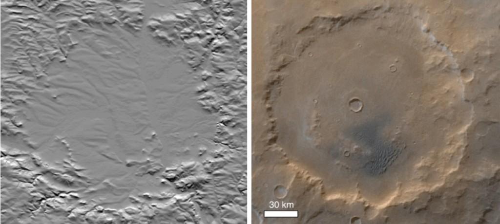 Vergleich der Morphologie vom Ries-Krater und vom Kaiser-Krater, Mars