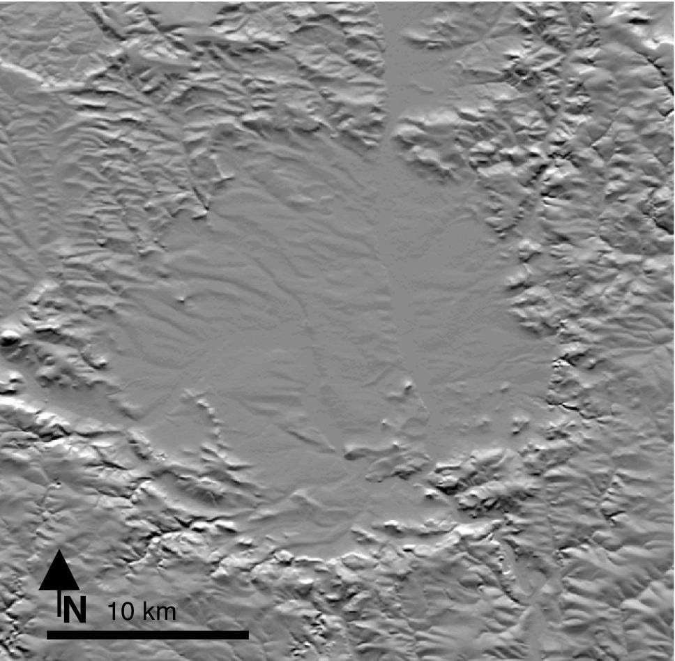 Relief-Karte des Ries-Kraters, Nördlinger Ries