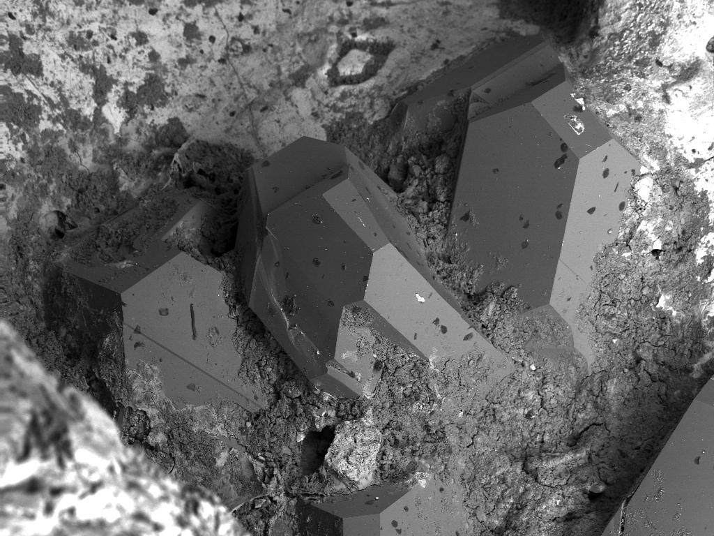 REM Aufnahme von Moissanit-Kristallen in Eisensilizid-Matrix, Chiemgau-Impakt