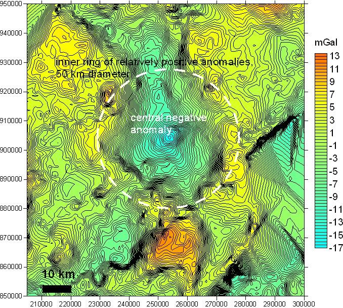 100 km Impakt-Struktur Lairg Nordschottland Gravimetrie